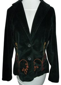 Caribbean Joe Medium Black 100% Cotton Embroidered 2 Button Closure Black w/embroidary Jacket
