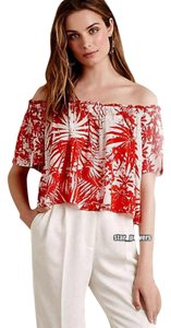 Anthropologie Off Shoulders Soft Fabric Top Red