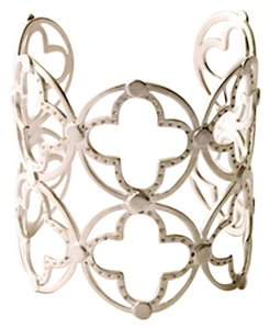 Stella & Dot Signature Clover Cuff Bracelet Silver Lace Filigree Lattice Flower