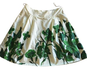 Nathalie lete Skirt Green and cream pattern