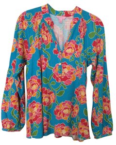Lilly Pulitzer Longsleeve V-neck Floral Pink Top turquoise