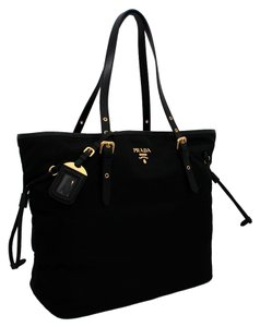 Prada Nylon Leather Logo Gold Tote in Black