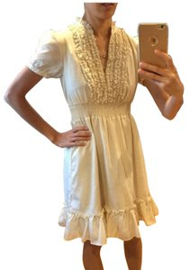 H&M short dress cream Ruffles Size 4 on Tradesy
