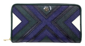 Tory Burch Tory Burch leather Patchwork Zipper Continental stripes long Wallet