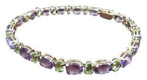 Other Amethyst and Peridot 14K yellow gold tennis bracelet