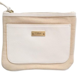 Chloé Small Cosmetic Pouch In Tan And White