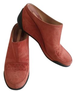 Via Spiga Wedge Rubber Heel Orange Suede Mules
