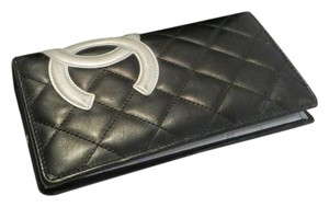 Chanel Chanel Black and Silver Quilted Leather Cambon Bifold Wallet