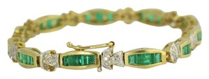 Emerald, Diamond Bracelet, 14k Gold Bracelet, Gemstone Jewelry