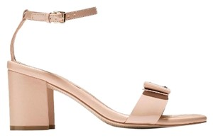Cole Haan Patent Bow Gold Hardware Nude Sandals