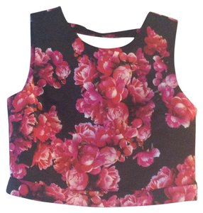 1.STATE Floral Satin Crop Dress Cutout Top Black and pink