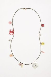 Chanel Chanel 07c Silver Tone Pink Crystal Accent Geometric Cc Charm Strand Necklace