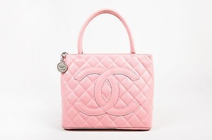 Chanel Caviar Leather Hammered Charm Cc Top Medallion Tote in Pink