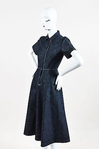tomas maier short dress Blue Dark Black Denim Printed Ss Snap Meadow on Tradesy