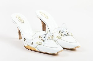Tod's Tods Gold Leather Slide White Mules