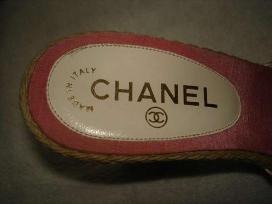 Chanel pink & white stripe Wedges