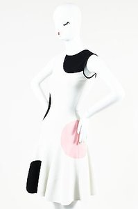 Alexander McQueen Black Pink Stretch Knit Dot Dress