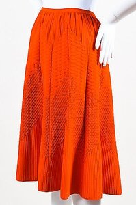 Salvatore Ferragamo Mixed Texture Knit Flared Skirt Orange