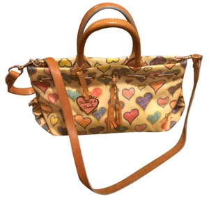 Dooney & Bourke Leather Satchel in Cream with multicolor DB heart pattern