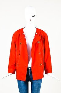 Chanel Vintage Boutique Gold Tone Button Double Breasted Ls Red Jacket