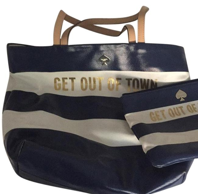 Item - Navy White Gold and Orange Canvas Tote