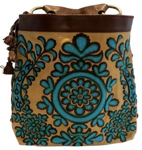 Isabella Fiore Beaded Turquoise Hobo Bag