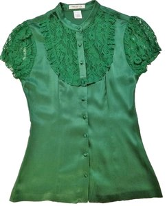 Arden B. Silk Lace Top Green
