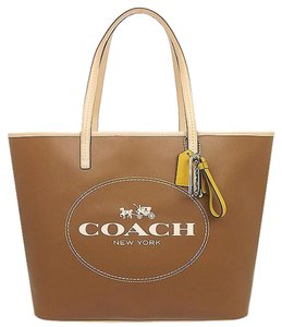 Coach Large Leather Signature Brown Tote in Saddle