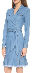 OASAP Knee Midi Jean Wrap Dress