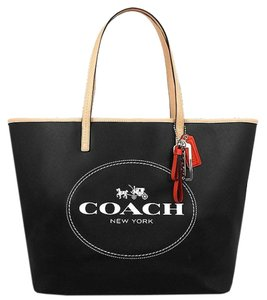 Coach Large Leather Signature Brown Tote in Black