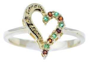 Elizabeth Jewelry Emerald & Garnet 'Always & Forever' Engraved Heart Ring