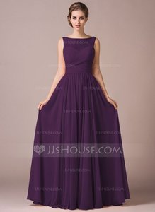 Grape Chiffon Lace A-line Floor-length Bridesmaid Dress Dress