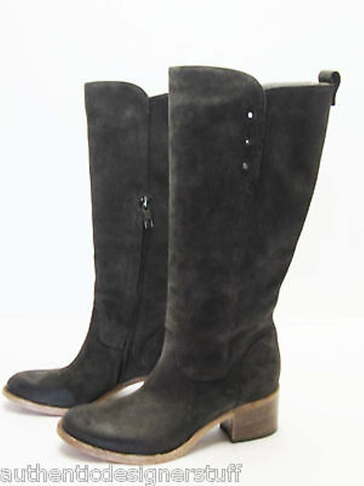 Alberto Fermani Silver Brown Suede Knee High Silver Fermani Stud Detail Boots/Booties 1a46dc