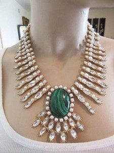 Oscar de la Renta Gold Tone, Crystal, Pearl and Malachite Necklace Signed