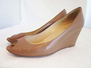 Christian Louboutin Beige Leather Wedge Caramel Brown Louboutin Low Wedge Caramel Wedge Tan, Brown Platforms