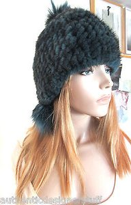 Jocelyn Jocelyn Knitted Mink Fur Hat With Pom Poms
