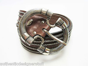 Nannini Nanni Brown Belt Metalllic Silver Stitching
