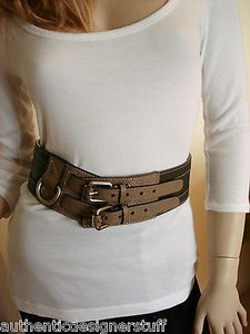 Rena Lange Rena Lange Wide Leather Belt Silver Buckle
