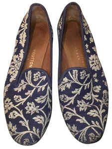 Stubbs & Wootton Blue and white Flats