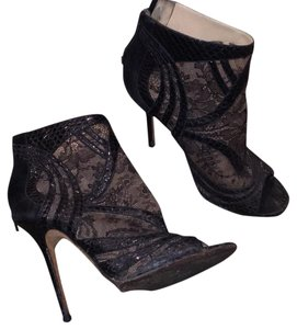 Jimmy Choo Black lace and snakeskin booties Boots