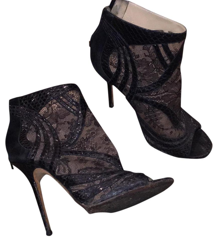 d0e66a48214ca Jimmy Choo Black Lace and Snakeskin Boots/Booties Size US 7.5 ...