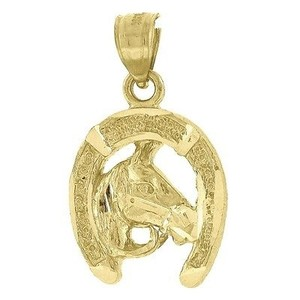 Jewelry For Less 10k Yellow Gold Horse Pendant 0.95 Horseshoe Charm