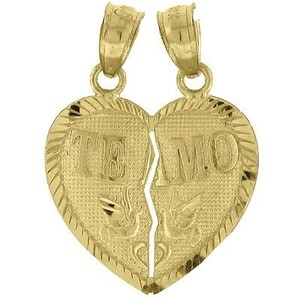 Jewelry For Less 10k Yellow Gold Te Amo Heart Piece Pendant 0.85 Breakable Charm