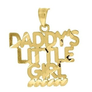 Jewelry For Less 10k Yellow Gold Daddys Little Girl Pendant 0.90 Ladies Charm