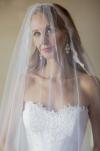 Jennifer Leigh Caprice Cathedral Veil In Pronovias Off-white Color