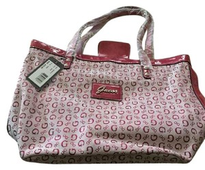 Guess Monogram Signature Tote Canvas Shoulder Bag