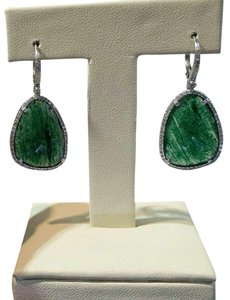 Other Unique 14k White Gold Diamond indian Jade earrings