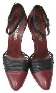 Chanel Charm Two-tone Burgundy Pumps