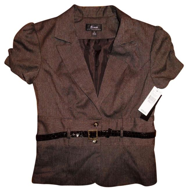 Item - Brown Fitted Belted Blazer Blouse Size 6 (S)