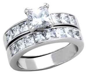 Other New 2pc Stainless Steel Princess Wedding Ring Set